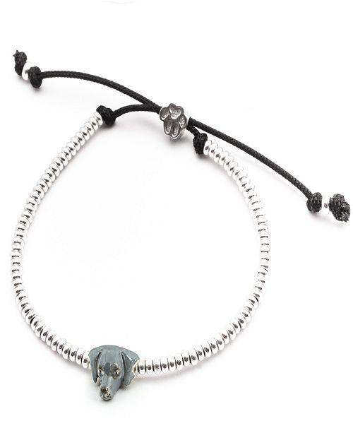Dog Fever Weimaraner Head Bracelet in Sterling Silver and Enamel