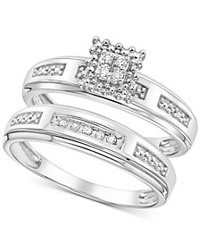 Diamond Accent Bridal Set in 14k White Gold