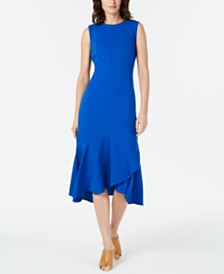 Calvin Klein Sleeveless High-Low Wrap-Hem Dress