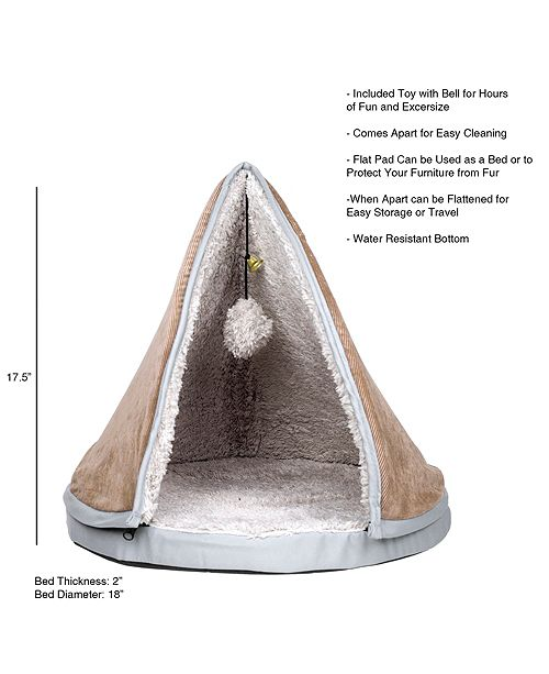 Trademark Global Petmaker Sleep And Play Cat Bed Removable Teepee Top