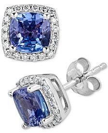 Tanzanite (2 ct. t.w.) & Diamond (1/5 ct. t.w.) Stud Earrings in 14k White Gold