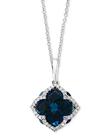 "EFFY® London Blue Topaz (6-3/8 ct. t.w.) & Diamond (1/5 ct. t.w.) 18"" Pendant Necklace in 14k White Gold"