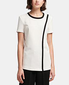DKNY Crewneck Contrast-Piped Top, Created for Macy's