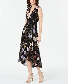 Calvin Klein Floral-Print Wrap Midi Dress