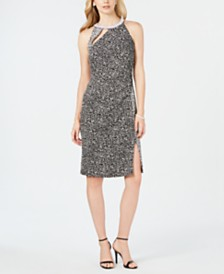 MSK Embellished Contrast Animal-Print Dress