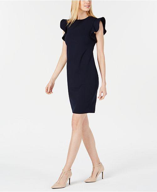 6c96f910 Calvin Klein Ruffle-Sleeve Sheath Dress & Reviews - Dresses - Women ...
