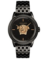 457a349174fc Versace Men s Swiss Palazzo Empire Black Ion-Plated Stainless Steel  Bracelet Watch 43mm