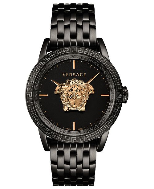 Versace Men's Swiss Palazzo Empire Black Ion-Plated Stainless Steel Bracelet Watch 43mm