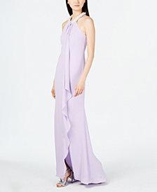 Calvin Klein Imitation-Pearl Halter-Neck Ruffle Gown
