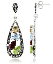 Multi-Color Stones & Marcasite Teardrop Earrings in Sterling Silver