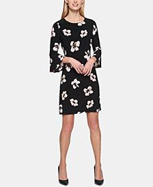 Tommy Hilfiger Mini Daisy Chain Print Jersey Bell Sleeve A-line Dress