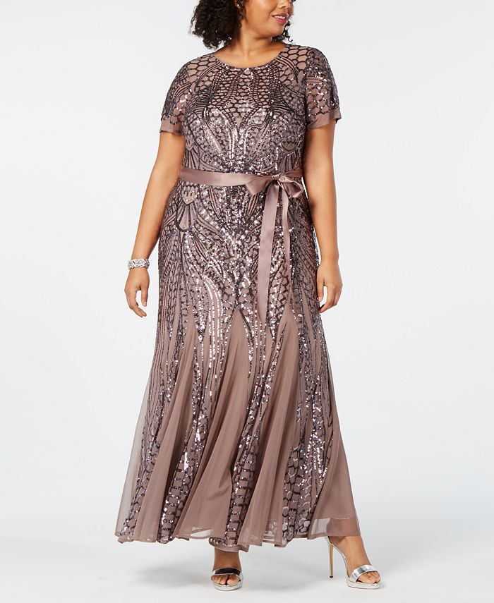 R & M Richards - Plus Size Sequined Godet Gown