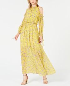 Avec Les Filles Cold-Shoulder Floral Maxi Dress