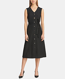 DKNY Belted Button-Front Shirtdress, Created for Macy's