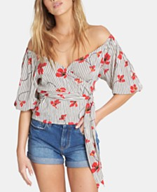 Billabong Juniors' Floral-Print Wrap Top