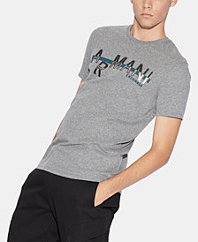 A|X Armani Exchange Men's Silver Logo Graphic T-Shirt