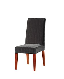 Stretch Pinstripe Short Dining Chair Slipcover