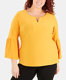Plus Size Hardware-Embellished Bell-Sleeve Top