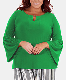 NY Collection Plus Size Hardware-Embellished Bell-Sleeve Top