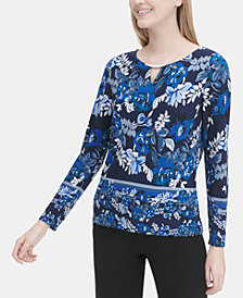 Calvin Klein Floral-Print Keyhole Hardware Top