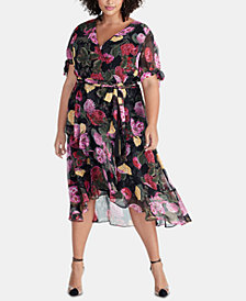 RACHEL Rachel Roy Plus Size Rina Floral-Print Wrap Dress, Created for Macy's
