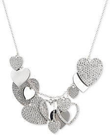 "Givenchy Silver-Tone Pavé Heart Charm Statement Necklace, 16"" + 3"" extender"