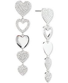 Givenchy Silver-Tone Pavé Heart Linear Drop Earrings