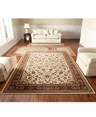 CLOSEOUT! KM Home Florence Collection 4-Pc. Set, Kashan Ivory/Brick