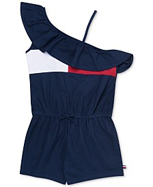 Tommy Hilfiger Big Girls Ruffle-Trim One-Shoulder Romper