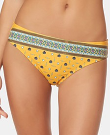 Jessica Simpson Printed Shirred-Back Bikini Bottoms