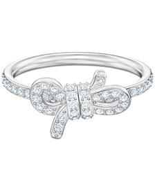 Silver-Tone Pavé Bow Ring