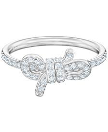 Swarovski Silver-Tone Pavé Bow Ring