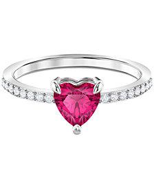 Swarovski Silver-Tone Crystal Heart Ring