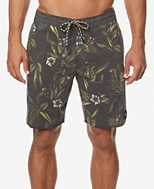 "Men's Indo Cruzer Stretch Tropical-Print 19"" Board Shorts"