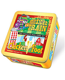 Mexican Train and Chickenfoot Dominoes - Complete Dual Game Set in a Tin