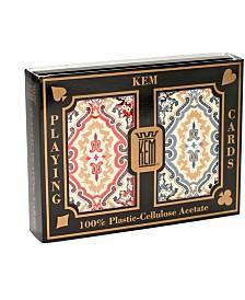 KEM Playing Cards - Paisley Red and Blue- Narrow Jumbo