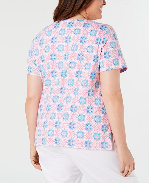 9a01d7ebfae Alfred Dunner Plus Size Palm Coast Mixed-Print Top - Tops - Plus ...