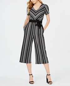 616750f7fba Connected Petite Belted Striped Jumpsuit