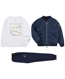 Jordan Little Boys Wings MA-1 Jacket, Graphic-Print T-Shirt & Jogger Pants
