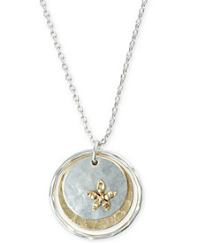 "Lucky Brand Two-Tone Flower Layered Coin Pendant Necklace, 18"" + 2"" extender"