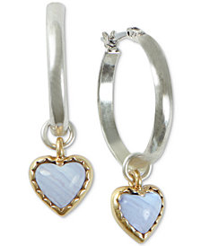 Lucky Brand Two-Tone Stone Heart Charm Hoop Earrings