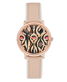 Anne Klein Women's Blush Leather Strap Watch 34mm