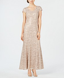 Petite Lace Cap-Sleeve Gown