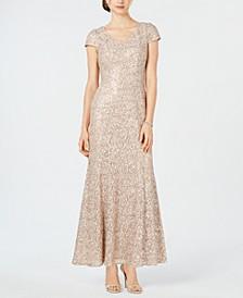 Petite Lace Cap-Sleeve Gown