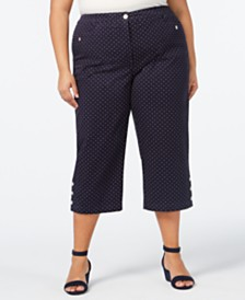 Karen Scott Plus Size Button-Hem Capri Pants, Created for Macy's