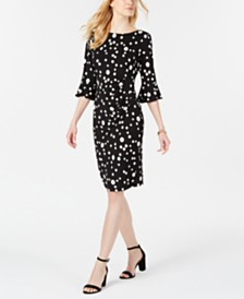 Connected Jersey-Dot Bell-Sleeve Sheath Dress