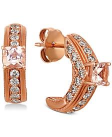 Peach & Nude Peach Morganite (3/8 ct. t.w.) & Nude Diamond (3/4 ct. t.w.) Hoop Earrings in 14k Rose Gold