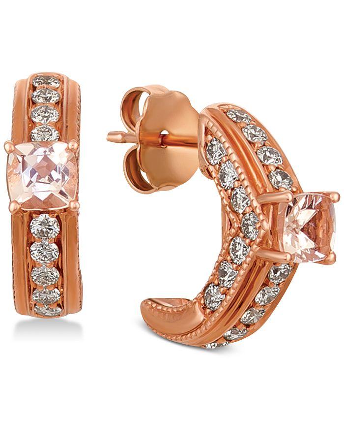 Le Vian - Peach & Nude Peach Morganite (3/8 ct. t.w.) & Nude Diamond (3/4 ct. t.w.) Hoop Earrings in 14k Rose Gold