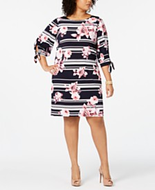 Jessica Howard Plus Size Tie-Sleeve Printed Dress
