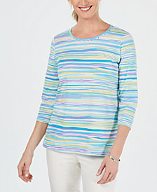 Alfred Dunner Butterfly Effect Embellished Printed Top